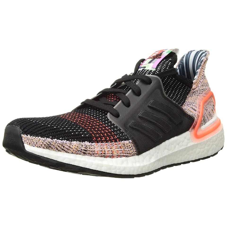 """<h3><a href=""""https://amzn.to/2vdysAY"""" rel=""""nofollow noopener"""" target=""""_blank"""" data-ylk=""""slk:Adidas Ultraboost"""" class=""""link rapid-noclick-resp"""">Adidas Ultraboost</a></h3><br>""""Black or white adidas Ultraboosts because they cool as streetwear but also good for working out."""" <em>– Melissa, travels monthly</em><br><br><strong>Adidas</strong> Women's Ultraboost 19 Running Shoe, $, available at <a href=""""https://amzn.to/2vLr3cx"""" rel=""""nofollow noopener"""" target=""""_blank"""" data-ylk=""""slk:Amazon"""" class=""""link rapid-noclick-resp"""">Amazon</a>"""