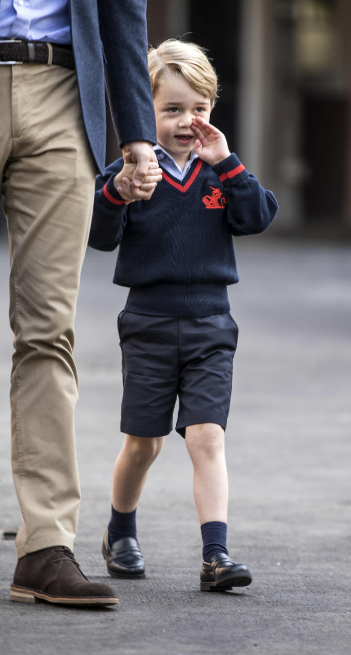 Prince George arriving for his first day of school at Thomas's school in Battersea in 2017. (Getty Images)