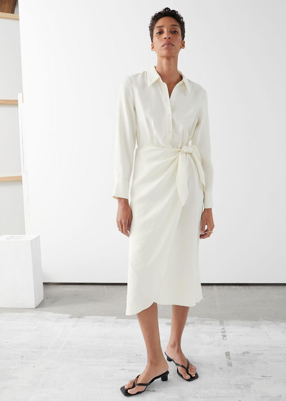 """<br> <br> <strong>& Other Stories</strong> Wrap Midi Dress, $, available at <a href=""""https://go.skimresources.com/?id=30283X879131&url=https%3A%2F%2Fwww.stories.com%2Fen_usd%2Fclothing%2Fdresses%2Fmidi-dresses%2Fproduct.wrap-midi-dress-white.0845339003.html"""" rel=""""nofollow noopener"""" target=""""_blank"""" data-ylk=""""slk:& Other Stories"""" class=""""link rapid-noclick-resp"""">& Other Stories</a>"""