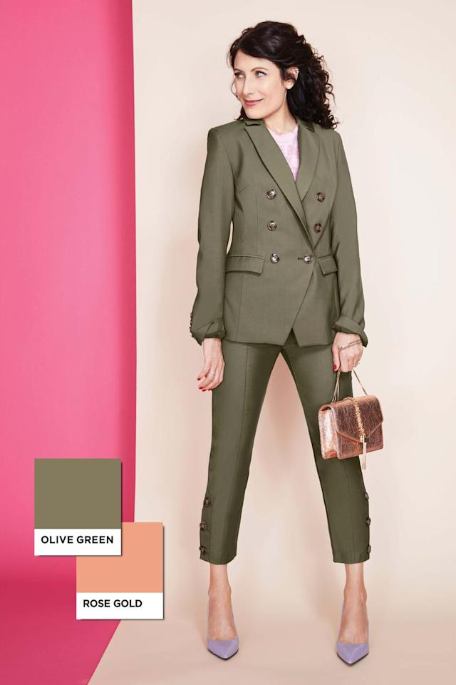 "<p>The pretty metallic (with the help of other sweet accents) turns a traditionally fall tone multi-seasonal <em>and </em>jazzes up a sharp suit.</p><p><em>Jacket ($220, <a rel=""nofollow"" href=""https://cmeocollective.com/products/definitive-blazer-khaki"">cmeocollective.com</a>); pants ($160, <a rel=""nofollow"" href=""https://cmeocollective.com/products/definitive-pant-khaki"">cmeocollective.com</a>); shirt ($29, <a rel=""nofollow"" href=""https://covertsubvert.com/shop/clothing/the-beauty-of-geometry-best-way-pink/"">covertsubvert.com</a>); heels ($178, <a rel=""nofollow"" href=""https://www.viaspiga.com/Shopping/ProductDetails.aspx?p=EC2507966&pg=5255386"">viaspiga.com</a>)<br></em></p>"