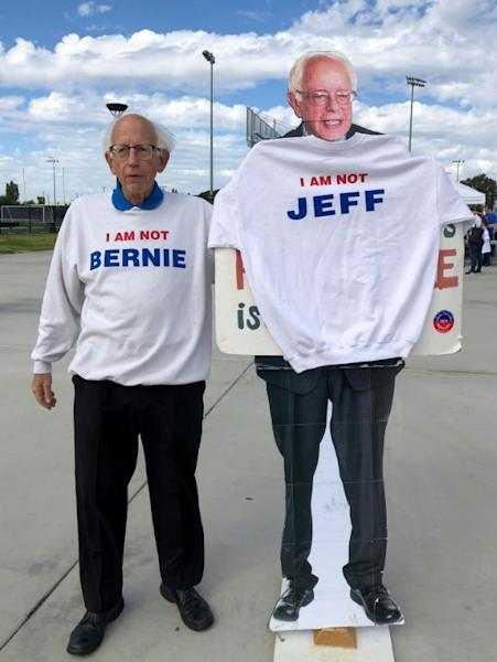 "Jeff Jones said if he ever meets Bernie Sanders, he would give him a sweatshirt that reads ""I AM NOT JEFF"""