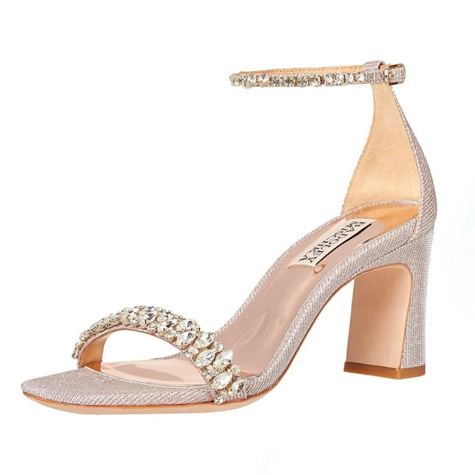 """It's all about the embellishment with these sandals, which feature chunky heels (key for stabilizing) and delicate, crystal-encrusted ankle and toe straps. They're also super-versatile—great for guests, as bridesmaid heels, or even with a wedding dress. $117, Amazon. <a href=""""https://www.amazon.com/Badgley-Mischka-womens-Harriet-Heeled/dp/B08BMH4NCJ"""" rel=""""nofollow noopener"""" target=""""_blank"""" data-ylk=""""slk:Get it now!"""" class=""""link rapid-noclick-resp"""">Get it now!</a>"""