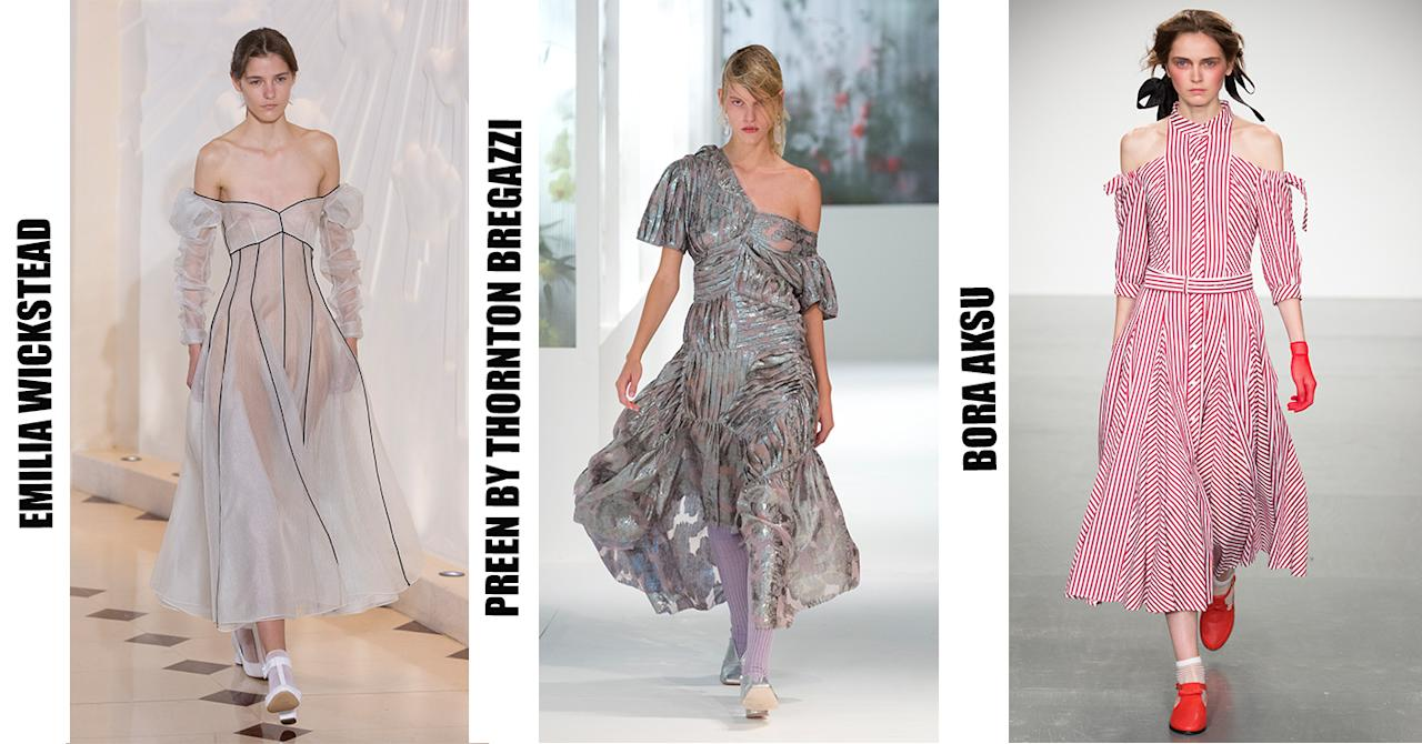 <p>We've grown accustomed to the cold-shoulder trend over the past few seasons. But for SS18, look to the likes of Preen and Emilia Wickstead for inspiration. </p>