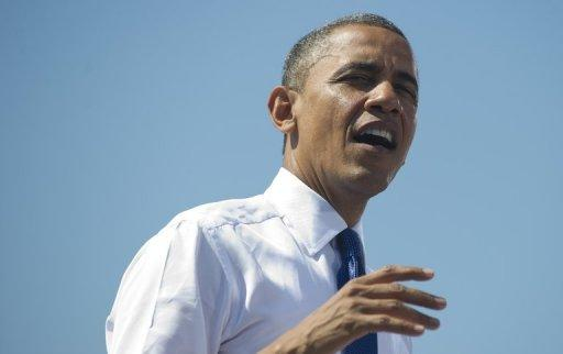 <p>US President Barack Obama speaks during a campaign rally in Woodbridge, Virginia. Obama urged members of Congress to pass a series of measures stimulating economic growth and job creation as he blasted lawmakers for failing to do so before the November 6 elections.</p>