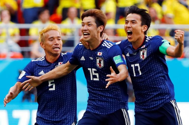 Japan's unexpected victory came courtesy of a header from Yuya Osako (centre) after Juan Quintero's clever free kick had cancelled out Shinji Kagawa's early penalty in Saransk