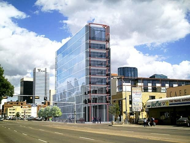 This office tower in downtown Edmonton was retrofitted with solar panels in 2017 to generate 80 per cent of its power.  (Dub Architects Ltd. - image credit)