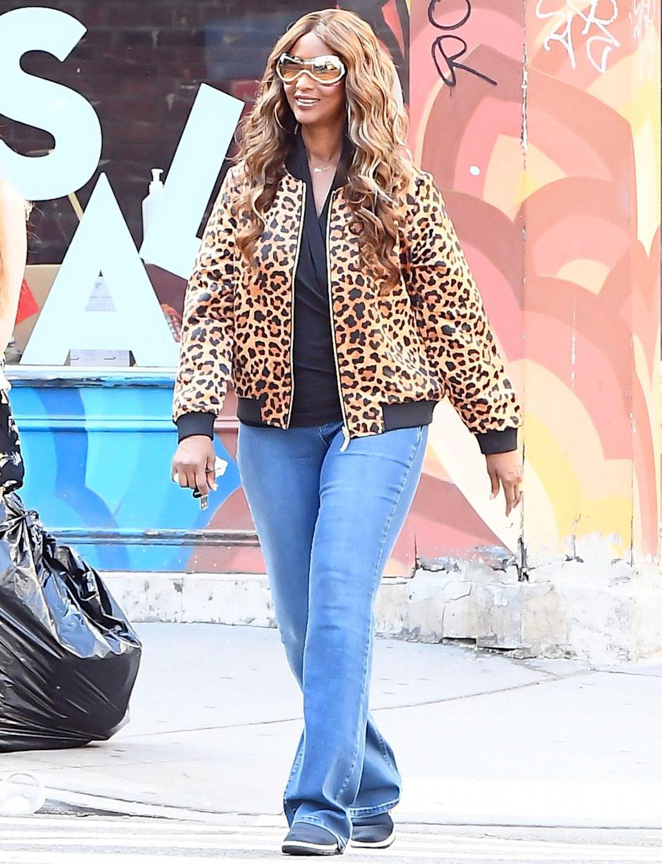 <p>Iman rocks a leopard-print bomber jacket during a photo shoot in N.Y.C. on Thursday. </p>