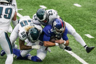 Philadelphia Eagles' Duke Riley (50) and Rodney McLeod (23) tackle New York Giants quarterback Daniel Jones (8) during the first half of an NFL football game Sunday, Nov. 15, 2020, in East Rutherford, N.J. (AP Photo/Corey Sipkin)