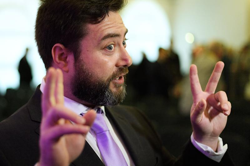 LONDON, ENGLAND - APRIL 18: Youtuber Carl Benjamin is interviewed following a UKIP press conference on April 18, 2019 in London, England. As the date for Brexit has been extended, it is likely that the UK will take part in the forthcoming European Elections to choose MEPs to represent regions of the UK in the European Parliament. (Photo by Leon Neal/Getty Images)