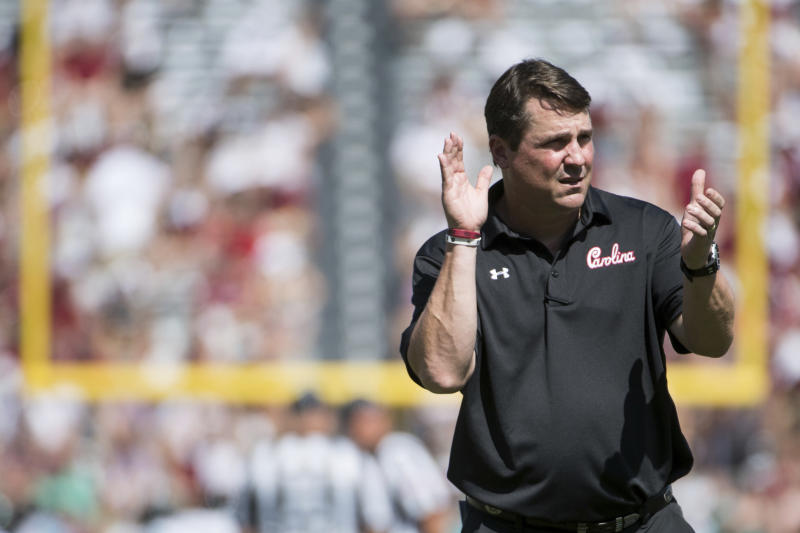 FILE - In this Sept. 1, 2018, file photo, South Carolina head coach Will Muschamp watches his players before an NCAA college football game against Coastal Carolina in Columbia, S.C. Muschamp believes hes got the strongest, deepest and most talented team in his four seasons as the Gamecocks coach. And he cant wait to see if hes right. (AP Photo/Sean Rayford, File)