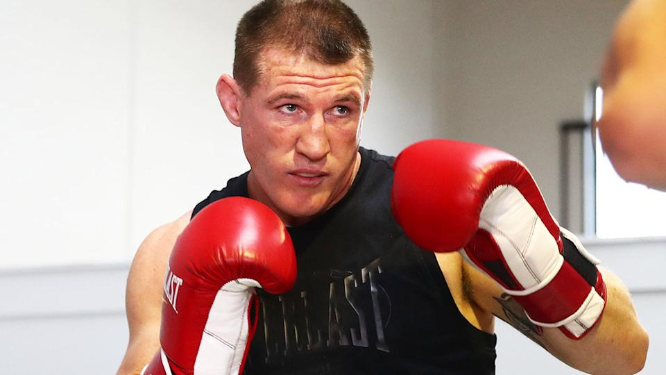 Paul Gallen, pictured here during a boxing training session at Jamie Myers Gym.