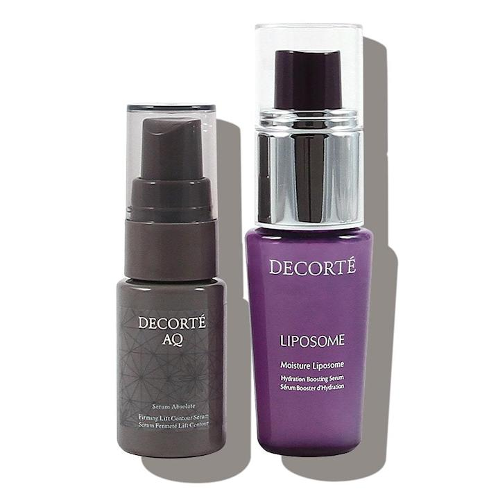 Decorté Moisture Liposome Serum The cream-to-gel texture feels so luxurious against my skin and is lightweight enough to layer. But the hyaluronic acid formula hydrates so well on its own, I only need to apply my regular sunscreen on top. —N.S. Decorté AQ Serum Absolute I have classic combination skin and this peptide serum is a great match for my oily zones and my dry ones. It's got a nice milky feel and leaves my skin moisturized and smooth. —N.S. +Subscribe now+ *Renewing members will receive either Decorté Moisture Liposome Serum, Decorté AQ Serum Absolute, Clarins Total Eye Lift, or Vitabrid C12 Dual Drop Serum.