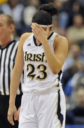 Notre Dame's Kayla McBride reacts in the second half of an NCAA college basketball game against Connecticut in the final of the Big East women's tournament in Hartford, Conn., Tuesday, March 6, 2012. Connecticut won 63-54. (AP Photo/Jessica Hill)