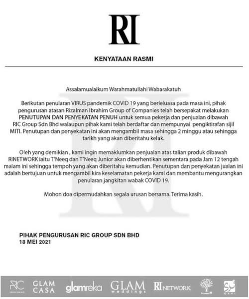 Rizalman posted the official statement on his social media