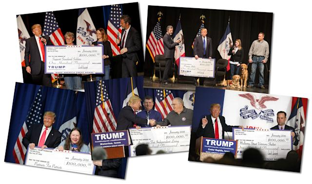 Trump presented many checks in Iowa from the Donald J. Trump Foundation just days ahead of the Feb. 1, 2016, Iowa caucus. (Photos, clockwise from top left: Patrick Semansky/AP, Scott Olson/Getty Images, Patrick T. Fallon/Bloomberg via Getty Images (2), Luke Sharrett/Bloomberg via Getty Images)