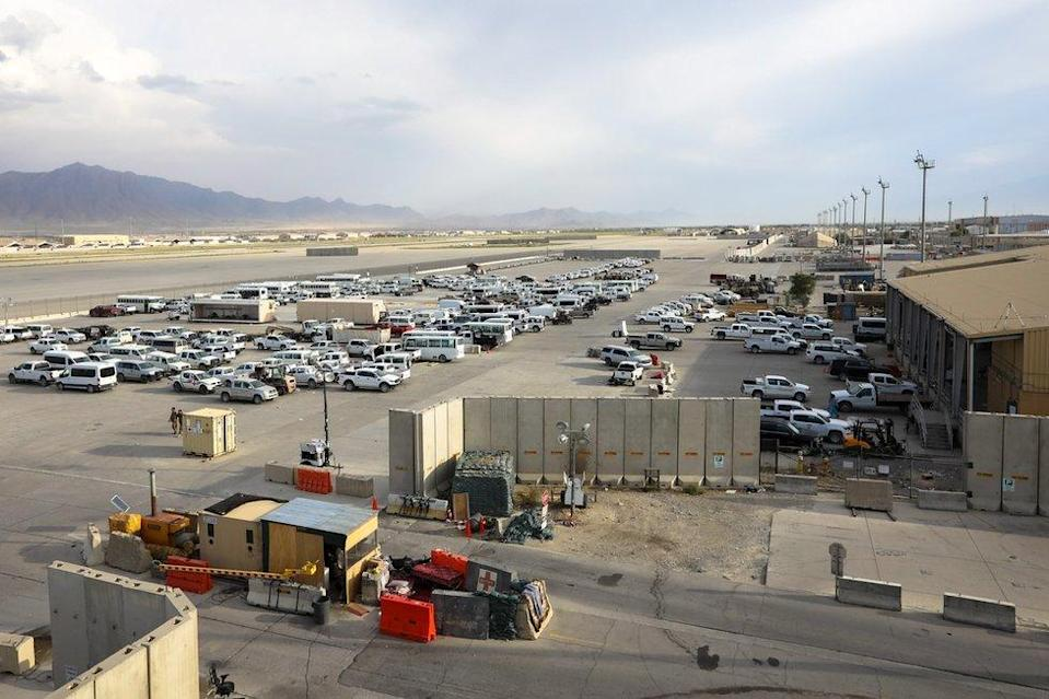 Vehicles left by the US military are seen parked inside the Bagram Air Base, some 50 kilometers north of the capital Kabul, Afghanistan, 05 July 2021.