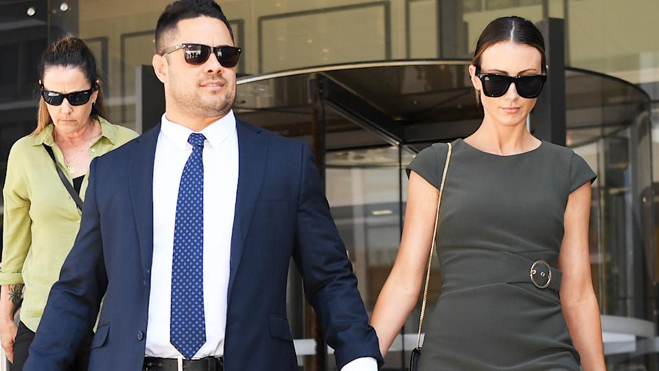 Jarryd Hayne, pictured here leaving Newcastle Court with his partner.