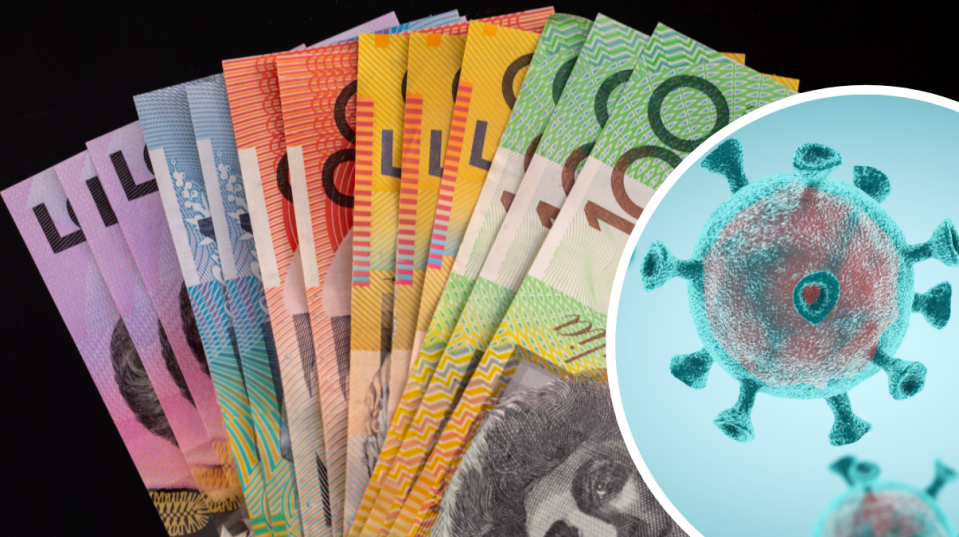 Pictured: Australian cash, coronavirus graphic. Victoria restrictions and $1,500 payment concept. Images: Getty
