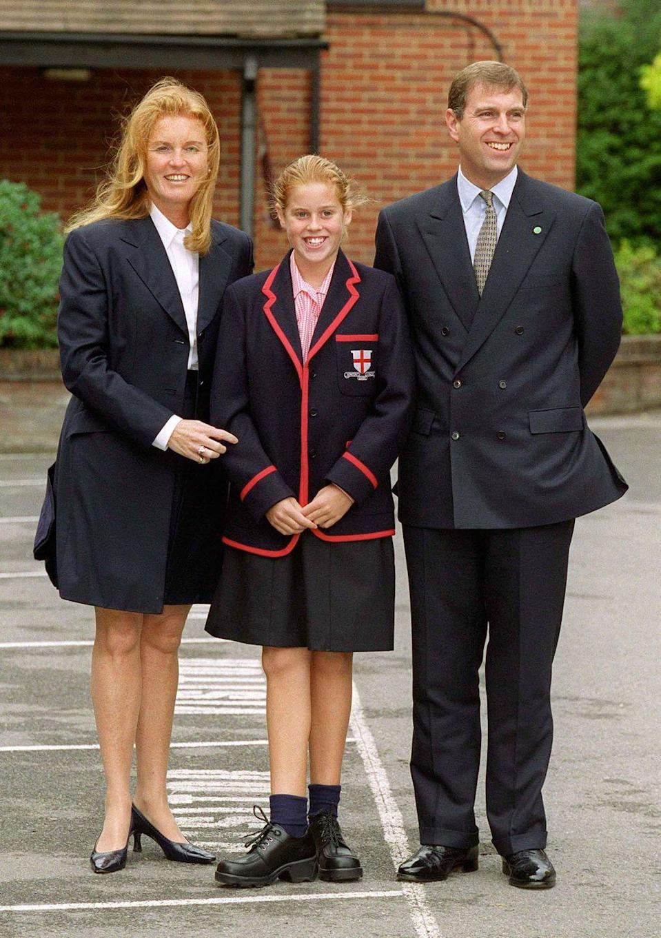 <p>Princess Beatrice poses with her parents on her first day at St. George's School in Ascot, England.</p>