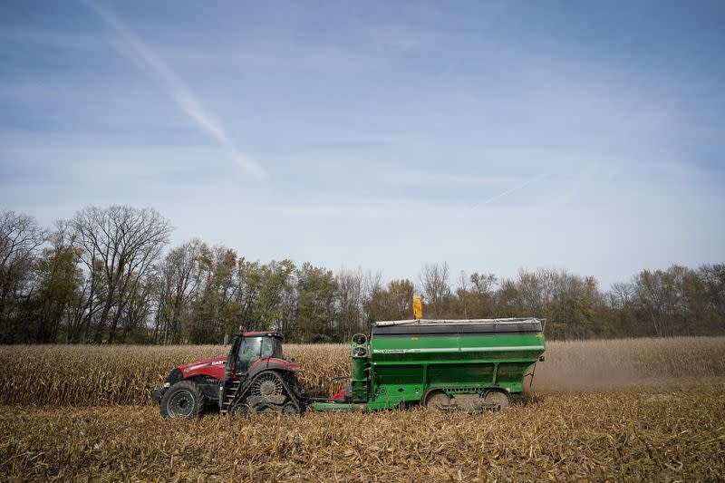 Corn is harvested from a field on Hodgen Farm in Roachdale