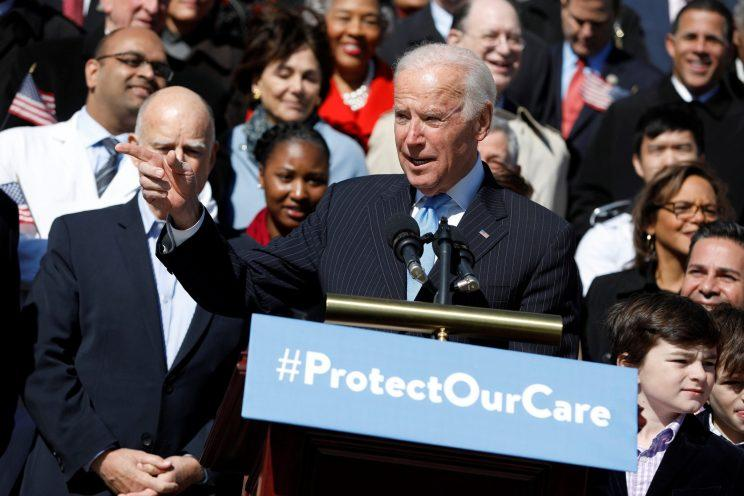 Former Vice President Joe Biden speaking in March against the repeal of Obamacare.