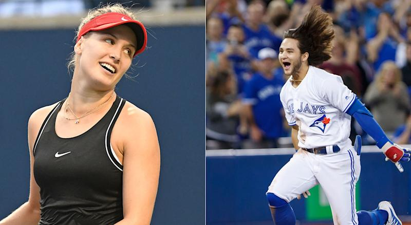 Bo Bichette expressed his interest in getting on the court with Eugenie Bouchard on Thursday. (Getty)
