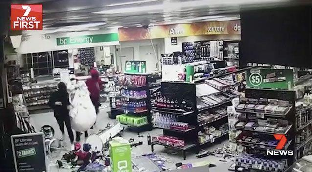 The Laverton service station was also targetted on Friday night. Picture: 7 News