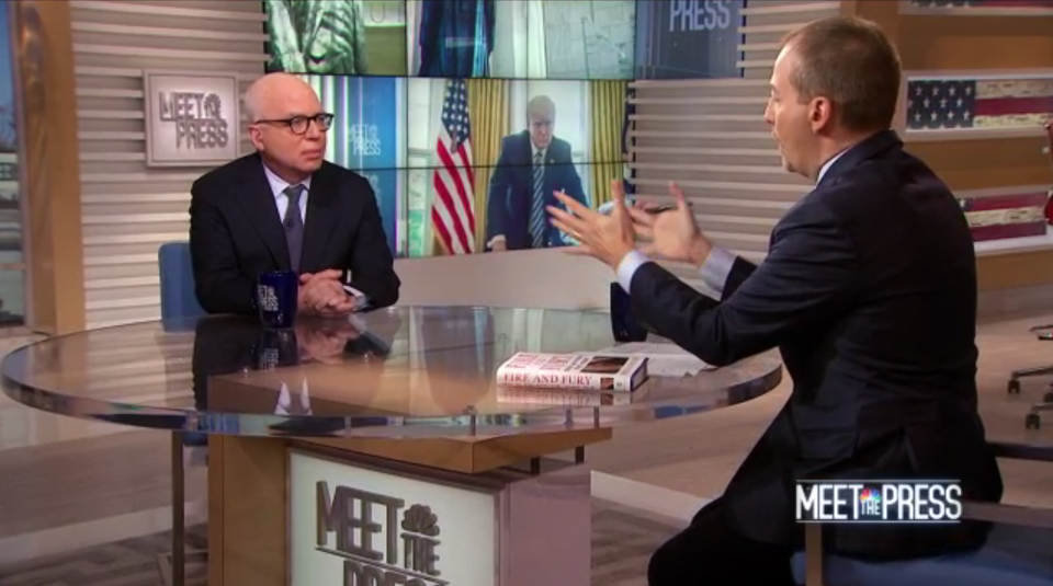 NBC News' Chuck Todd, right, talks to Wolff about his book on the Trump administration. (Screengrab: NBC)