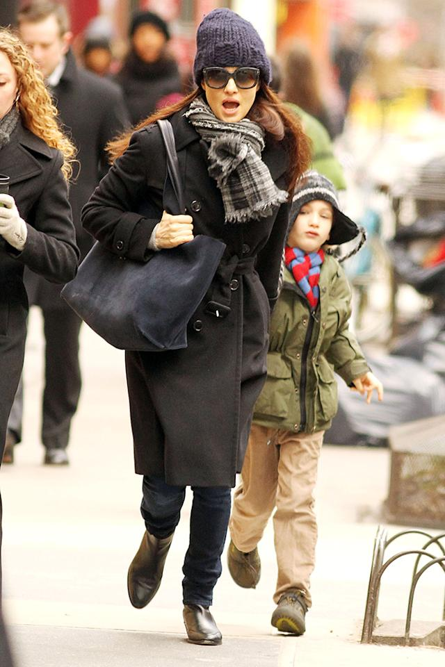 , New York, NY 3/14/13- Rachel Weisz Walking Son Henry to School in the East Village