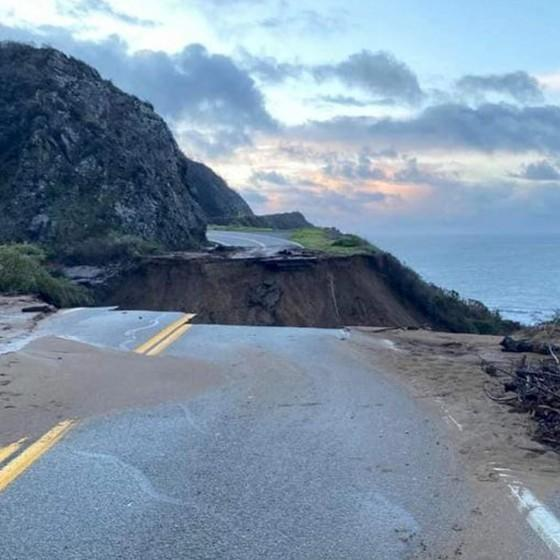 This is what Highway 1 at Rat Creek looked like on Friday morning, where a slide washed out 150 feet of roadway.