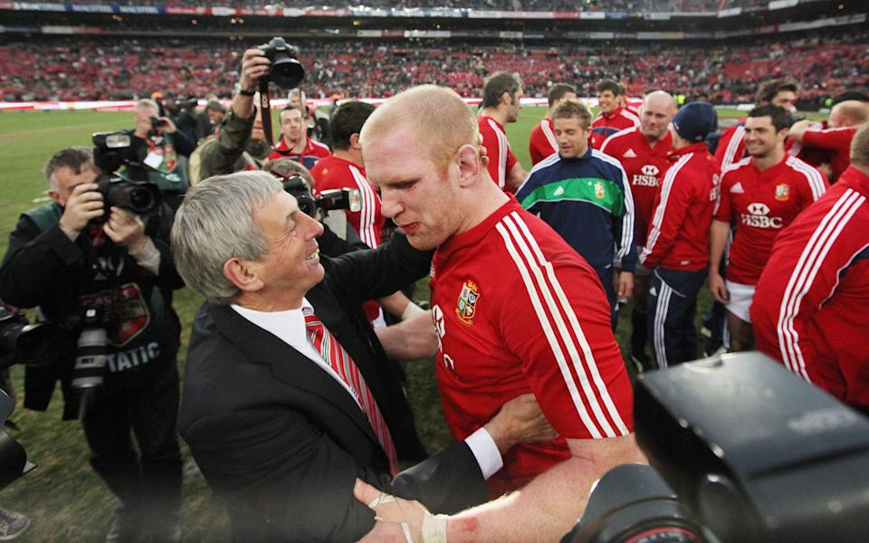 McGeechan and captain Paul O'Connell embrace after the Lions' victory in Johannesburg - EPA