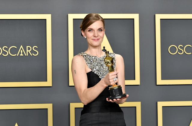 """Composer Hildur Gudnadóttir, winner of the Original Score award for """"Joker,"""" poses in the press room during the 92nd Annual Academy Awards at Hollywood and Highland on February 09, 2020 in Hollywood, California. (Photo by Amy Sussman/Getty Images)"""