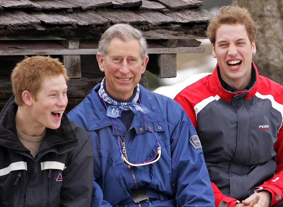 The Prince Of Wales, Prince William & Prince Harry Attend A Photocall In Klosters, Switzerland. . (Photo by Mark Cuthbert/UK Press via Getty Images)
