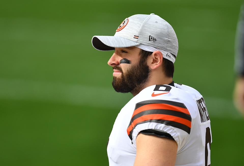 Browns QB Baker Mayfield is being placed on the reserve/COVID-19 list after having close contact with a staff member who tested positive. (Photo by Joe Sargent/Getty Images)