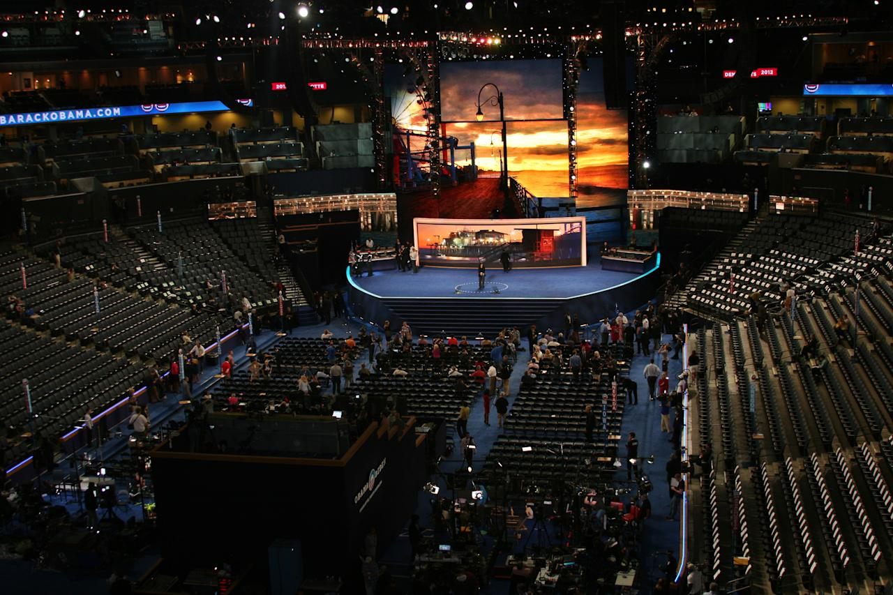 The view from our press booth where we film our livestreaming coverage of the Democratic National Convention on Thursday Sept. 6, 2012. (Torrey AndersonSchoepe/Yahoo! News)