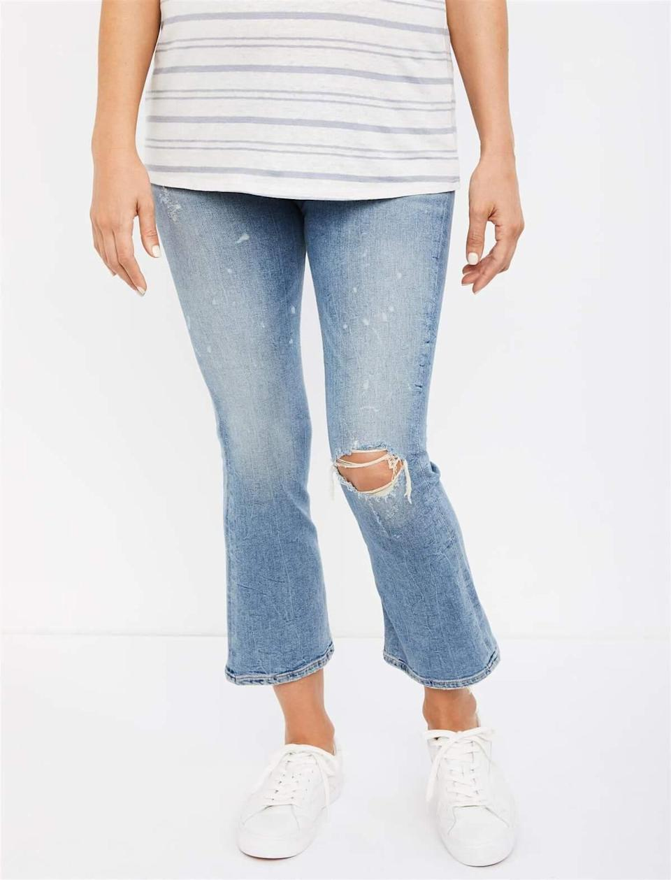 """$189, A Pea in the Pod. <a href=""""https://www.apeainthepod.com/collections/citizens-of-humanity/products/citizens-of-humanity-side-panel-midrise-demy-cropped-flare-maternity-jeans-006-23686-000-001"""" rel=""""nofollow noopener"""" target=""""_blank"""" data-ylk=""""slk:Get it now!"""" class=""""link rapid-noclick-resp"""">Get it now!</a>"""