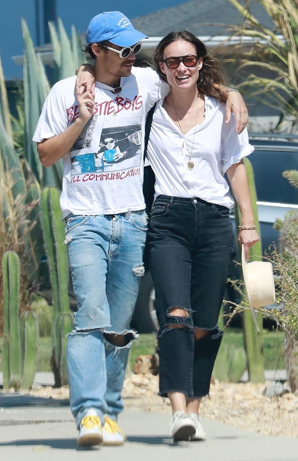 Harry Styles and girlfriend Olivia Wilde wearing matching outfits while out in Los Angeles earlier this month.