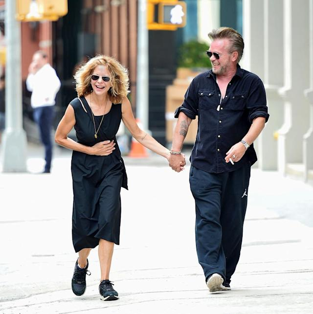 """<p>""""I'll have what she's having,"""" said everyone who passed a hysterically happy Ryan on the streets of New York. Apparently, her rocker beau is quite the jokester. (Photo: Splash) </p>"""