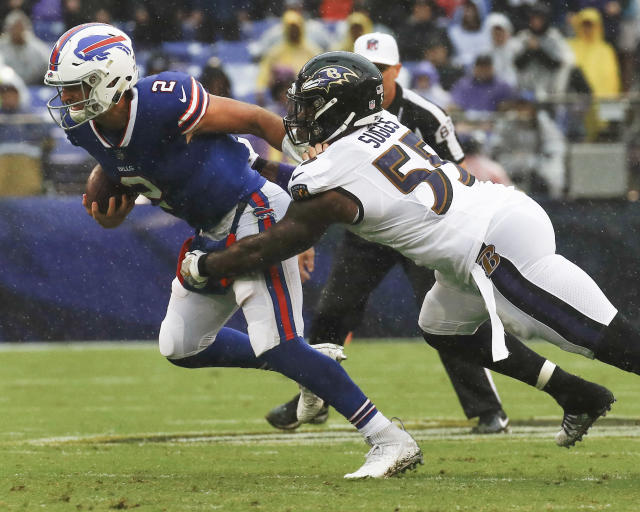 Buffalo Bills' starting quarterback Nathan Peterman was sacked three times against Baltimore. (AP)
