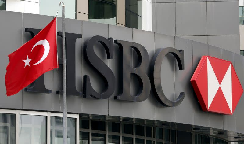 FILE PHOTO: A Turkish flag flies at the HSBC headquarters in Istanbul