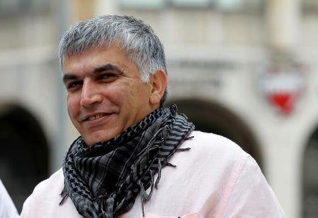 File photo of Bahraini human rights activist Nabeel Rajab arriving for his appeal hearing at court in Manama