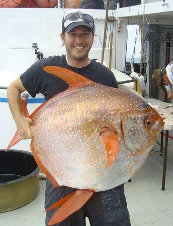 NOAA Fisheries biologist Nick Wegner holds an opah caught during a research survey off the California Coast in this undated handout photo provided by NOAA Fisheries/Southwest Fisheries Science Center. REUTERS/NOAA Fisheries/Southwest Fisheries Science Center/Handout