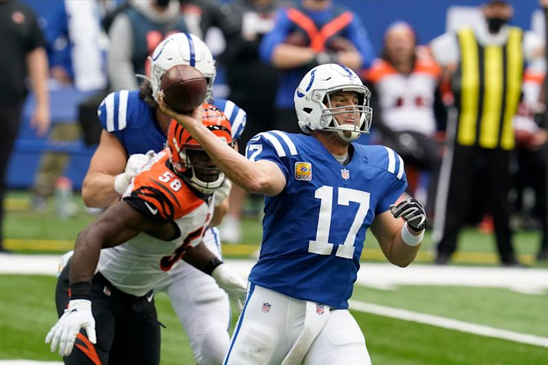Indianapolis Colts quarterback Philip Rivers (17) throws during the second half of an NFL football game against the Cincinnati Bengals, Sunday, Oct. 18, 2020, in Indianapolis. (AP Photo/Michael Conroy)