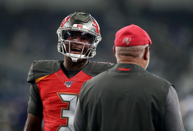 Jameis Winston and Bruce Arians still aren't seeing eye to eye. (Photo by Ronald Martinez/Getty Images)