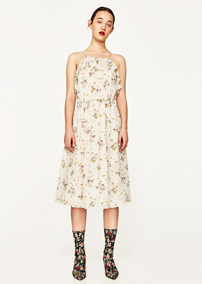 "Zara Floral Dress, $69.90; at <a rel=""nofollow"" href=""https://www.zara.com/us/en/woman/dresses/floral-dress-c358003p4312003.html"">Zara</a>"