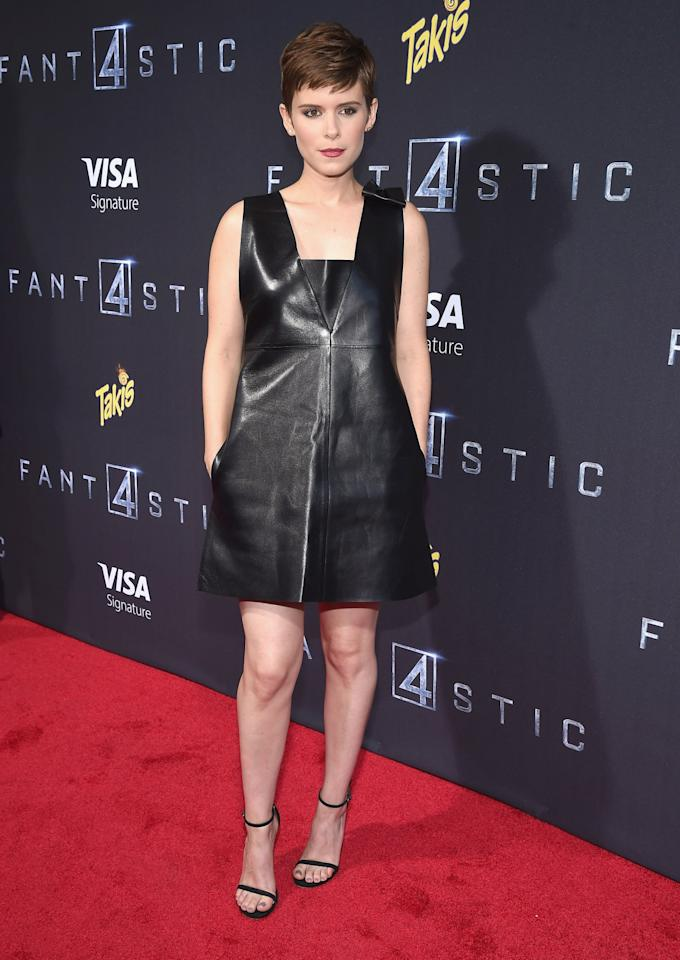 <p>The actress dared to wear leather in the sweltering heat during the New York premiere of <i>The Fantastic Four</i>. <br /><br /></p>