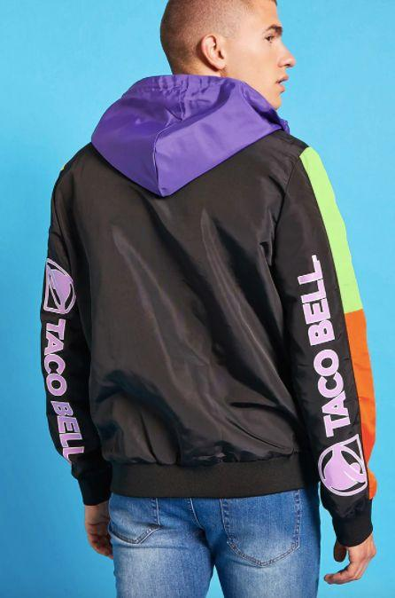 """Taco Bell anorak jacket, <a href=""""https://www.forever21.com/us/shop/Catalog/Product/f21/promo-taco-bell-collection/2000216217"""" target=""""_blank"""">$29.90 at Forever 21</a>"""
