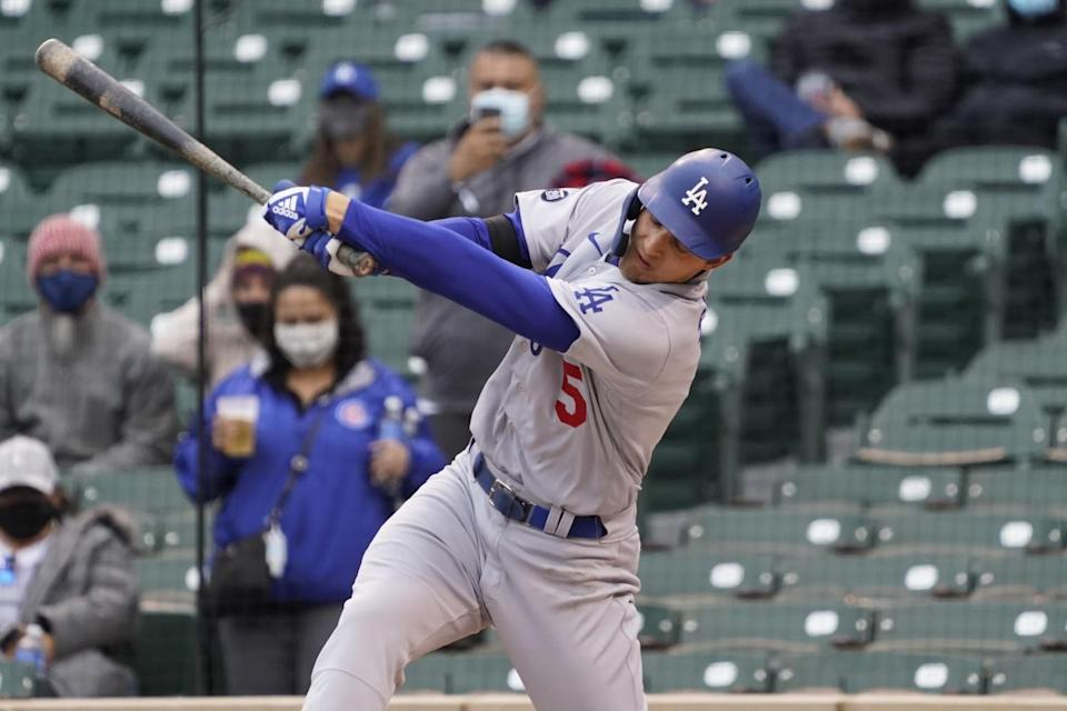 Dodgers shortstop Corey Seager swings at a pitch during a loss to the Chicago Cubs on Tuesday.