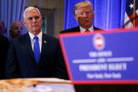 U.S. President-elect Donald Trump stands with Vice President-elect Mike Pence during a press conference in Trump Tower, Manhattan, New York,