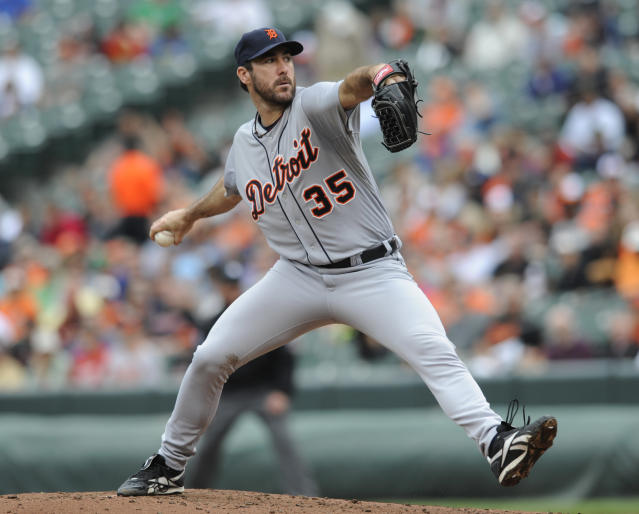 Detroit Tigers' Justin Verlander throws against the Baltimore Orioles in the fourth inning of a baseball game Wednesday, May 14, 2014, in Baltimore. (AP Photo/Gail Burton)